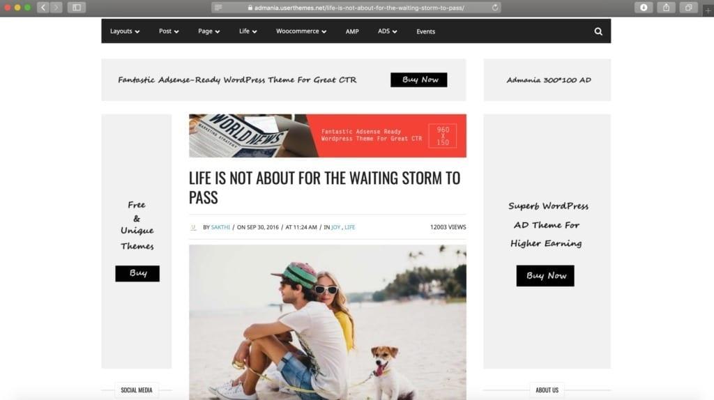 Admania WordPress Theme Example Image for Ads