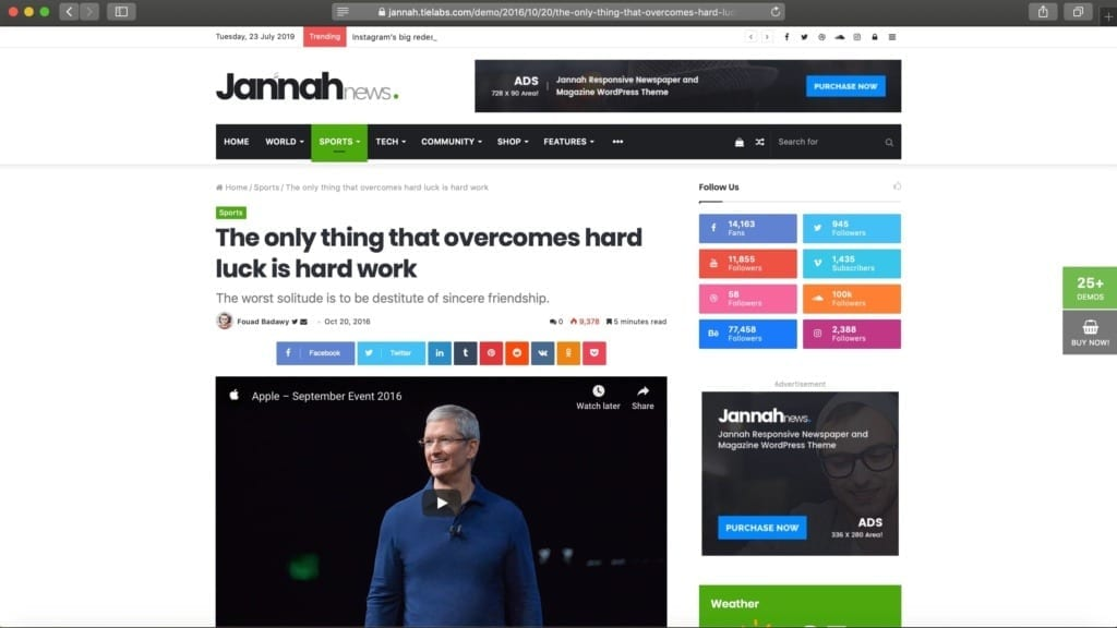 Jannah News WordPress Theme Example Image for Ads