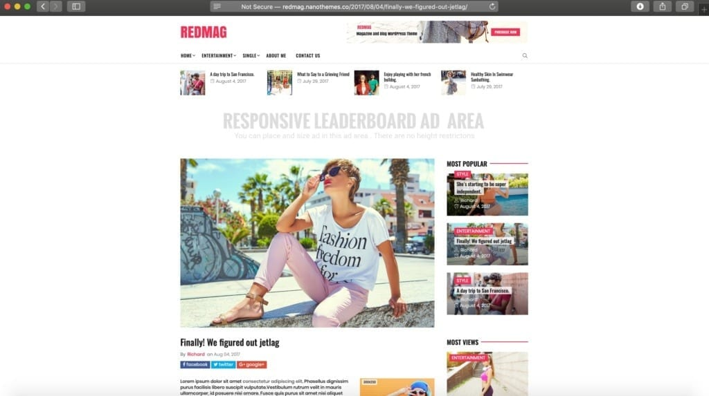 RedMag WordPress Theme Example Image for Ads
