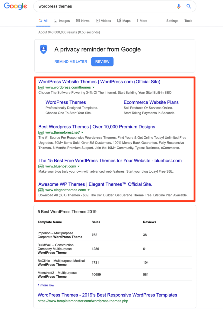 Paid Search Native Ad Example on Google.com by bannerTag.com