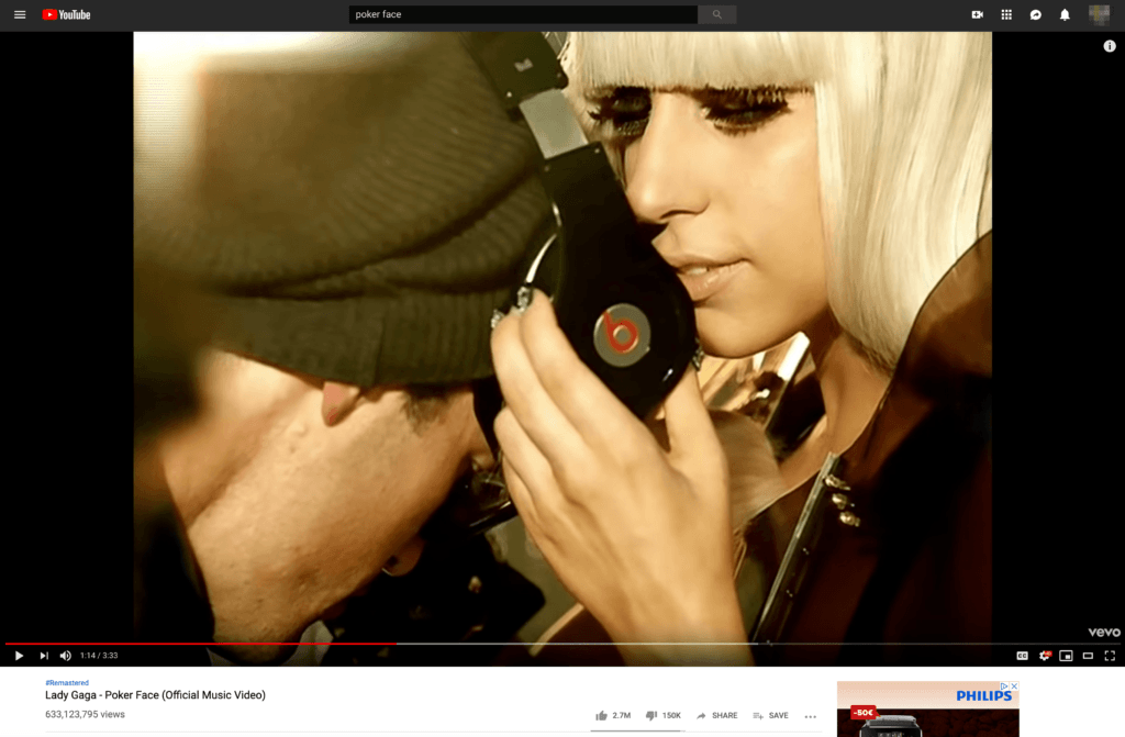 Product Placement Ad Example on Lady Gaga YouTube Video Beats By Dre. by bannerTag.com