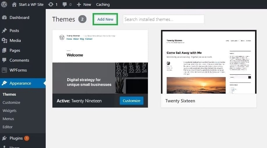 WordPress Website Add New Theme