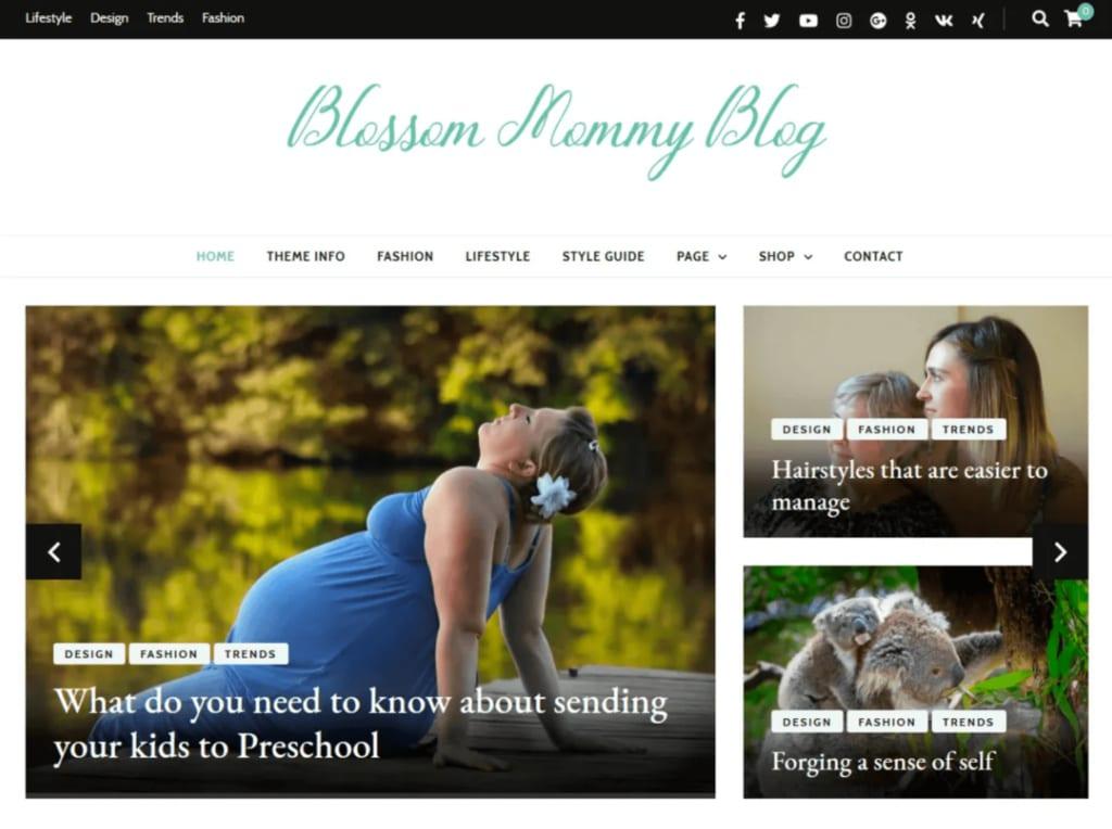 Blossom Mommy WordPress Theme Mommy Blogger
