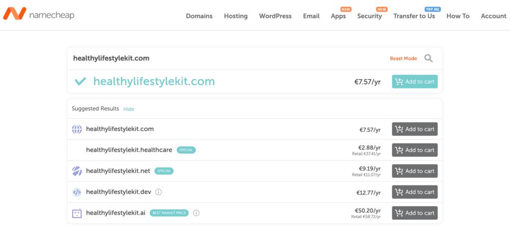 Find a Domain Name using namecheap.com for Amateur blogging bannertag.com