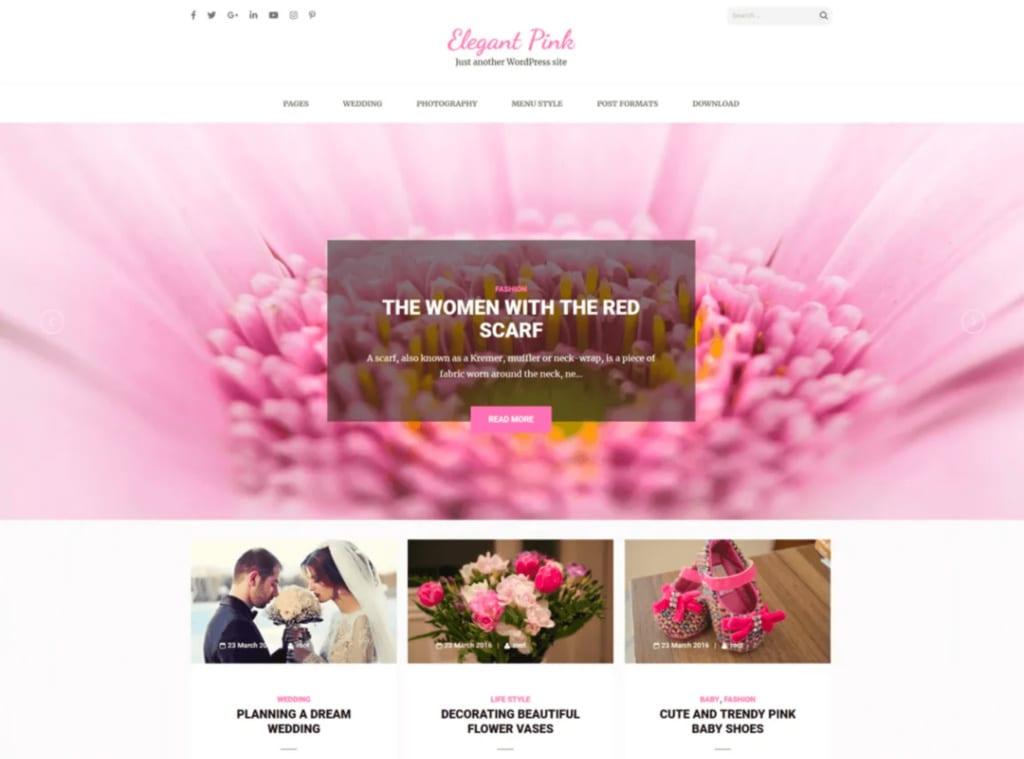 Elegant Pink WordPress Theme Mommy Blogger