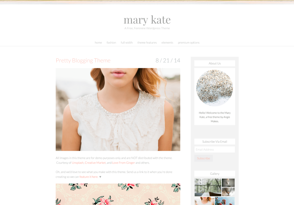 Mary Kate WordPress Theme Mommy Blogger